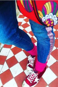 colourful bright pink wool socks with trainers