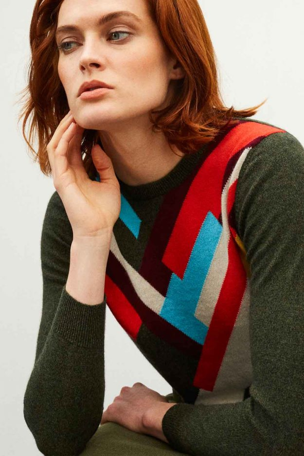womens geometric cashmere khaki sweater Hand Intarsia