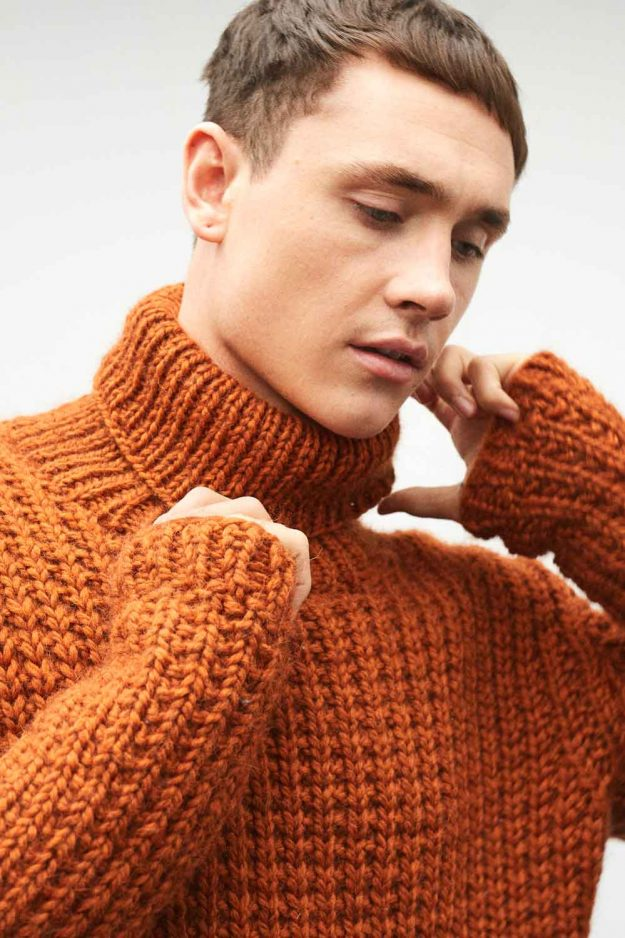 Mens Chunky Hand Knit Roll Neck Jumper