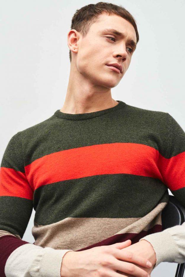 mens cashmere stripe khaki orange sweater