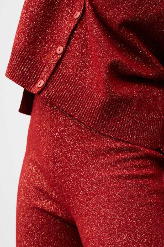 Womens Red Lurex Cardigan