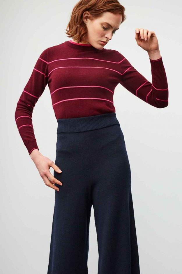 womens burgundy jumper with hot pink sheer stripes