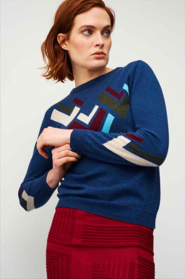 Womens geometric cashmere hand intarsia sweater
