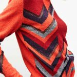 Bright Orange Geometric Womens Jumper Lambswool Hand Intarsia