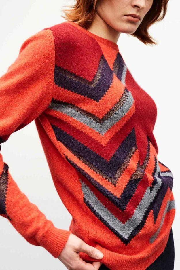 Bright Orange Geometric Womens Jumper Lambswool