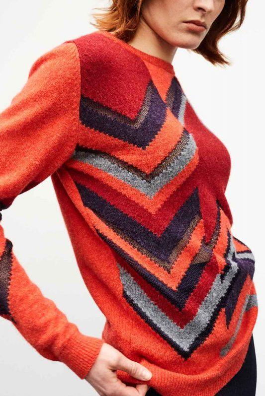 Bright Orange Geometric Womens Jumper Lambswool Hand Intarsia