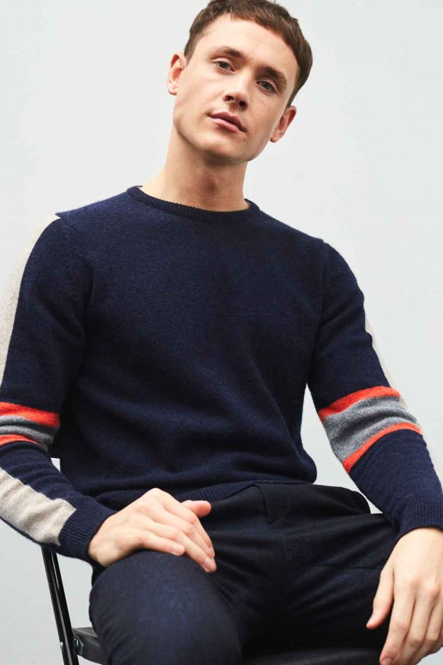 Mens Navy Lambswool Sweater with Stripe Hand Intarsia