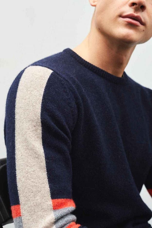 Mens Navy Contrast Stripe Sleeve Sweater