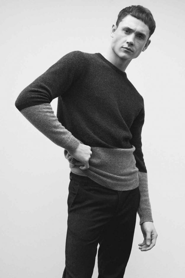 mens grey lambswool stripe sweater
