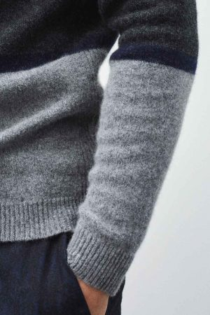 Details mens stripe grey jumper