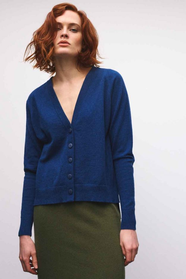 womens cashmere blue cardigan