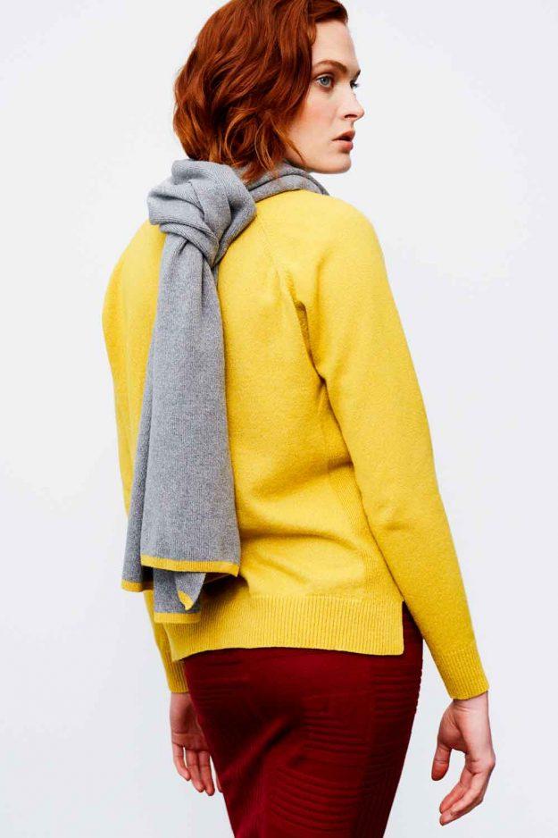 womens grey lurex merino cashmere scarf