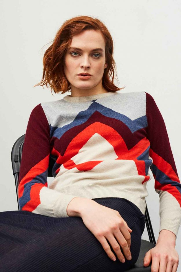 Womens Hand Intarsia Cashmere sweater with colourful geometric