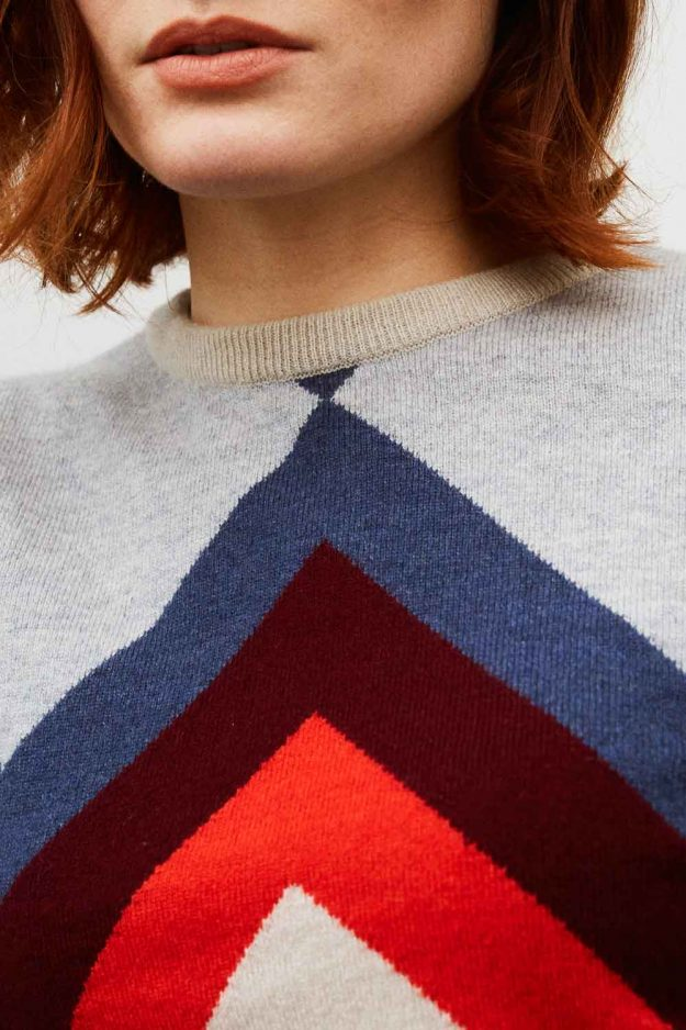 womens geometric cashmere sweater