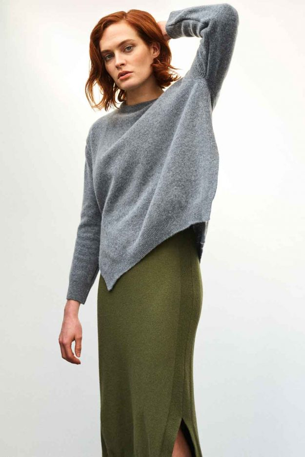 Womens Slouch Lambswool Grey Jumper