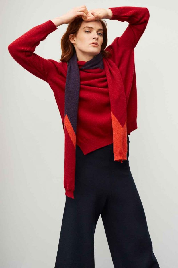womens slouch lambswool red sweater