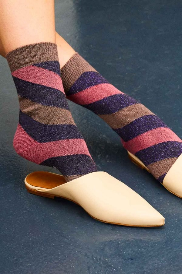 Sparkly striped sock made in britain