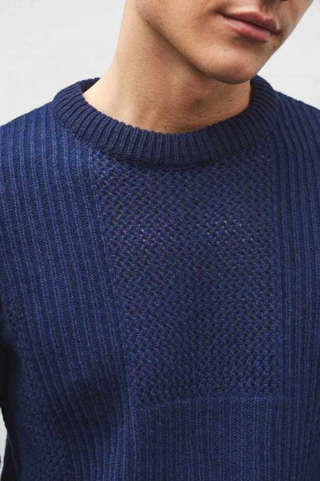 mens textured navy sweater