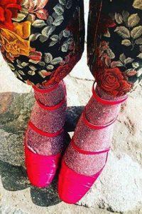 sparkly lurex red socks womens
