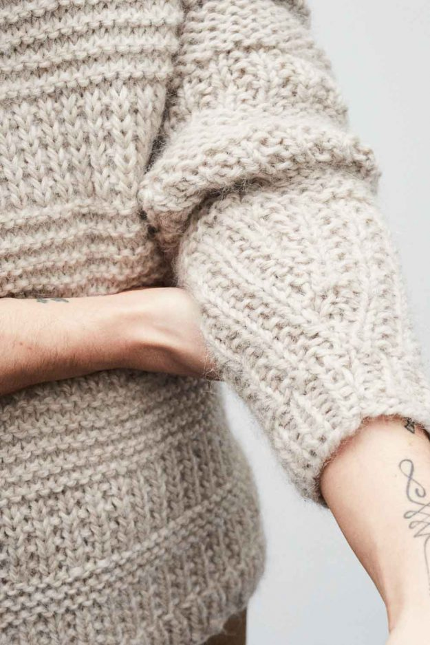 Mens chunky hand knit jumper