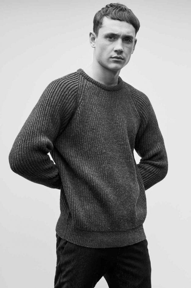 Mens Wool Navy Fishermans rib sweater