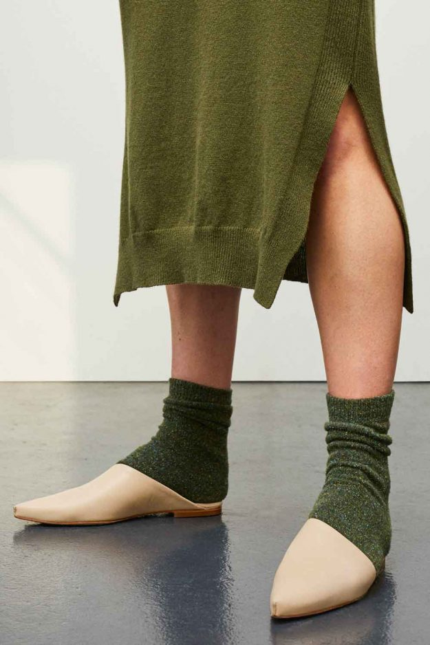 Khaki Wool Silk Tweed Socks