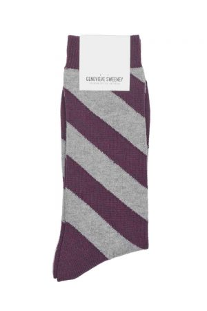 mens stripe cotton socks purple grey