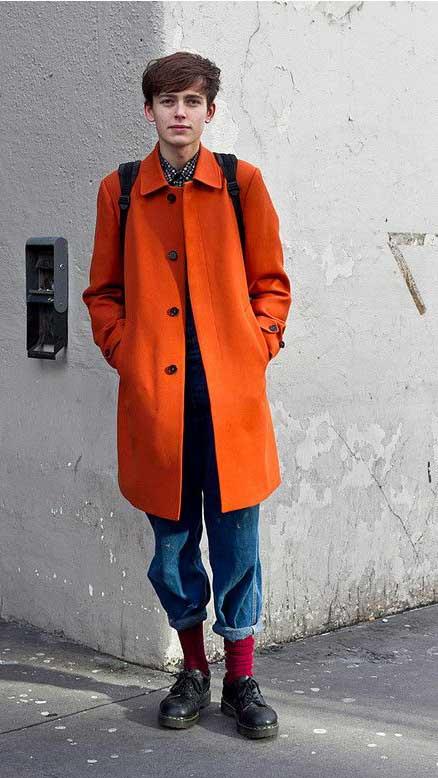 mens red orange socks