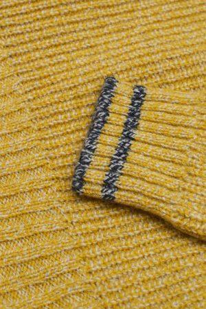 Ayles Lambswool Mustard Mouline stripe detail