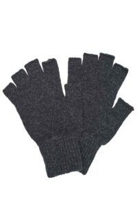 charcoal lambswool fingerless gloves