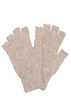 Unisex fingerless lambswool gloves in stone