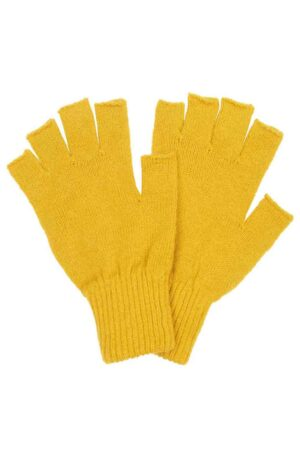 mustard yellow fingerless wool gloves