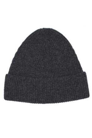 charcoal rib lambswool beanie made in Scotland