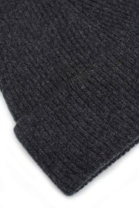 charcoal ribbed beanie lambswool detail