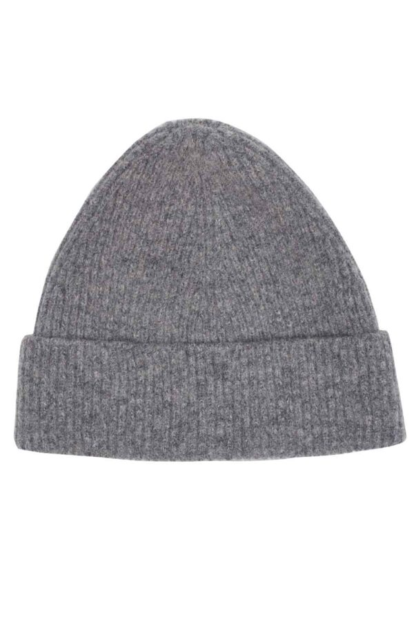 Grey Melange ribbed lambswool beanie