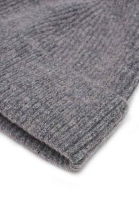 Grey Melange ribbed lambswool beanie sartorial accessory
