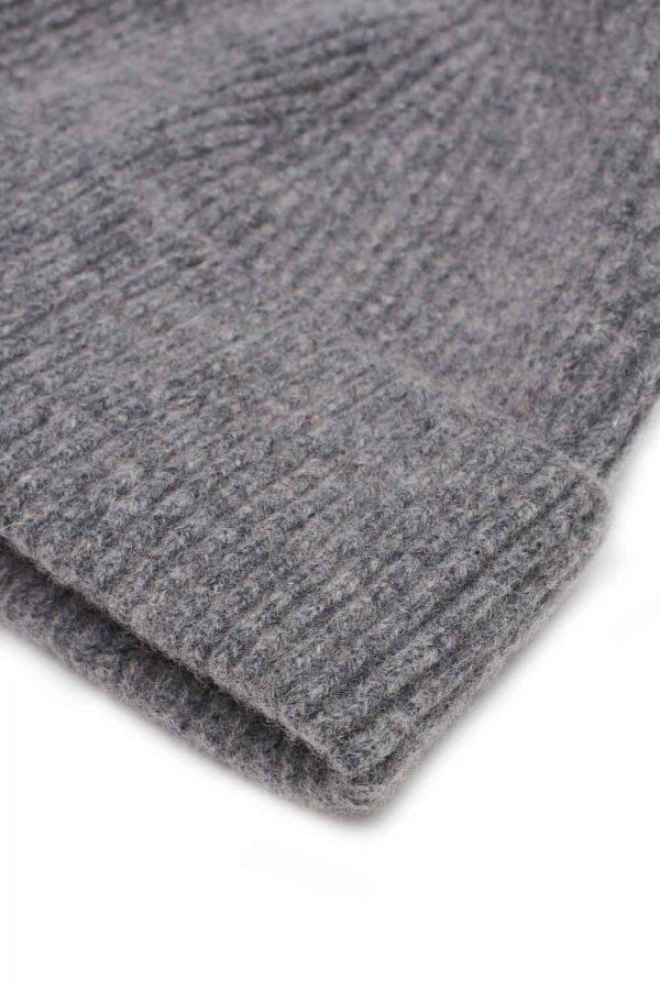 Grey Melange ribbed lambswool beanie sartorial accessory