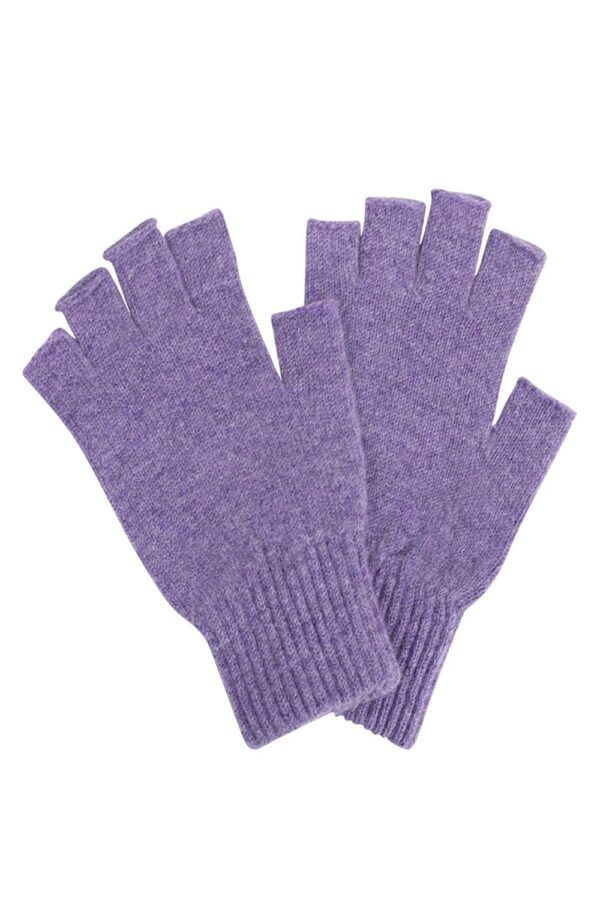 Unisex Lilac Lambswool Fingerless Gloves - Made in Britain