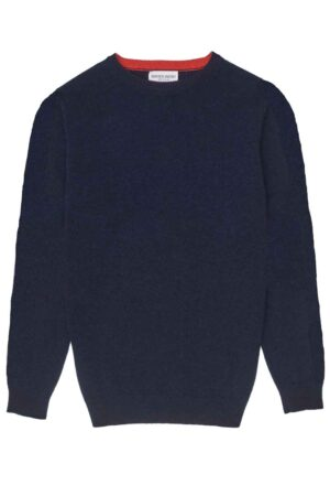 Mens Navy Lambswool Jumper