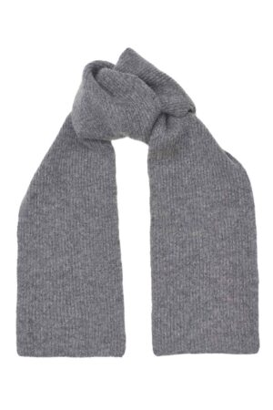 Kids lambswool Grey Melange rib scarf