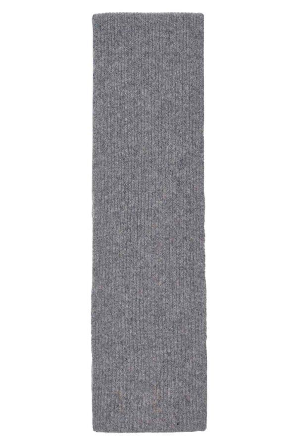 Kids lambswool Grey Melange rib scarf long