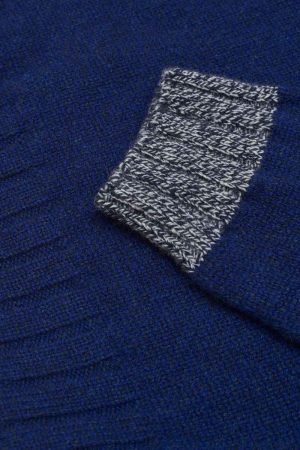 Womens Sloouch turtleneck lambswool navy jumper cuff detail