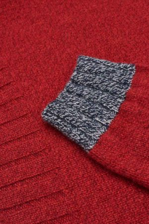 Womens Slouch turtleneck lambswool red jumper cuff detail