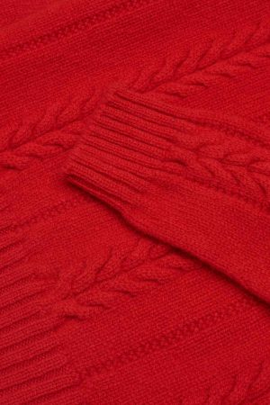 Allover Cable Lambswool Jumper red detail