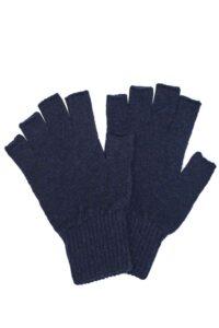 Navy Blue Fingerless Wool Gloves