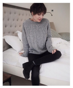 grey cozy cable sweater wool