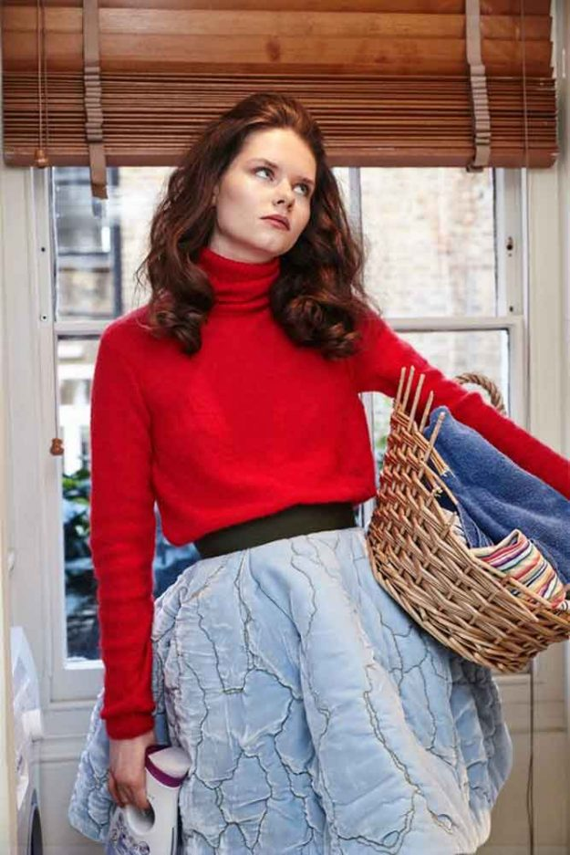 Red Rollneck Mohair Jumper