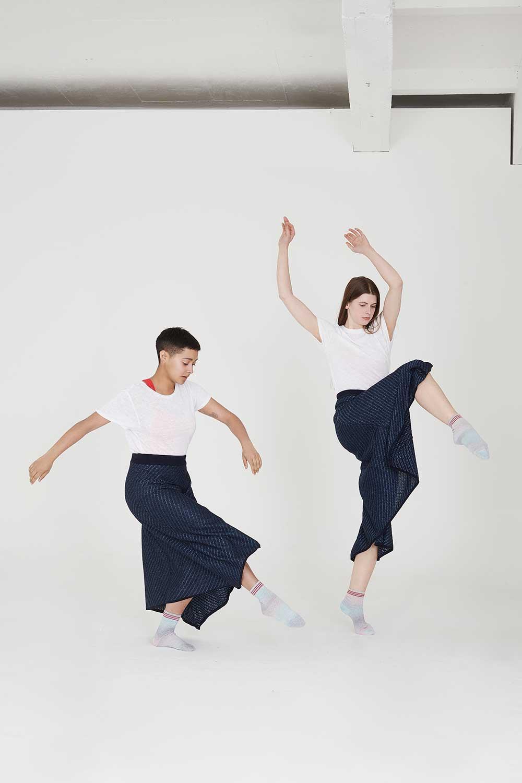 Summer knitwear Wrap metallic skirt white t-shirt
