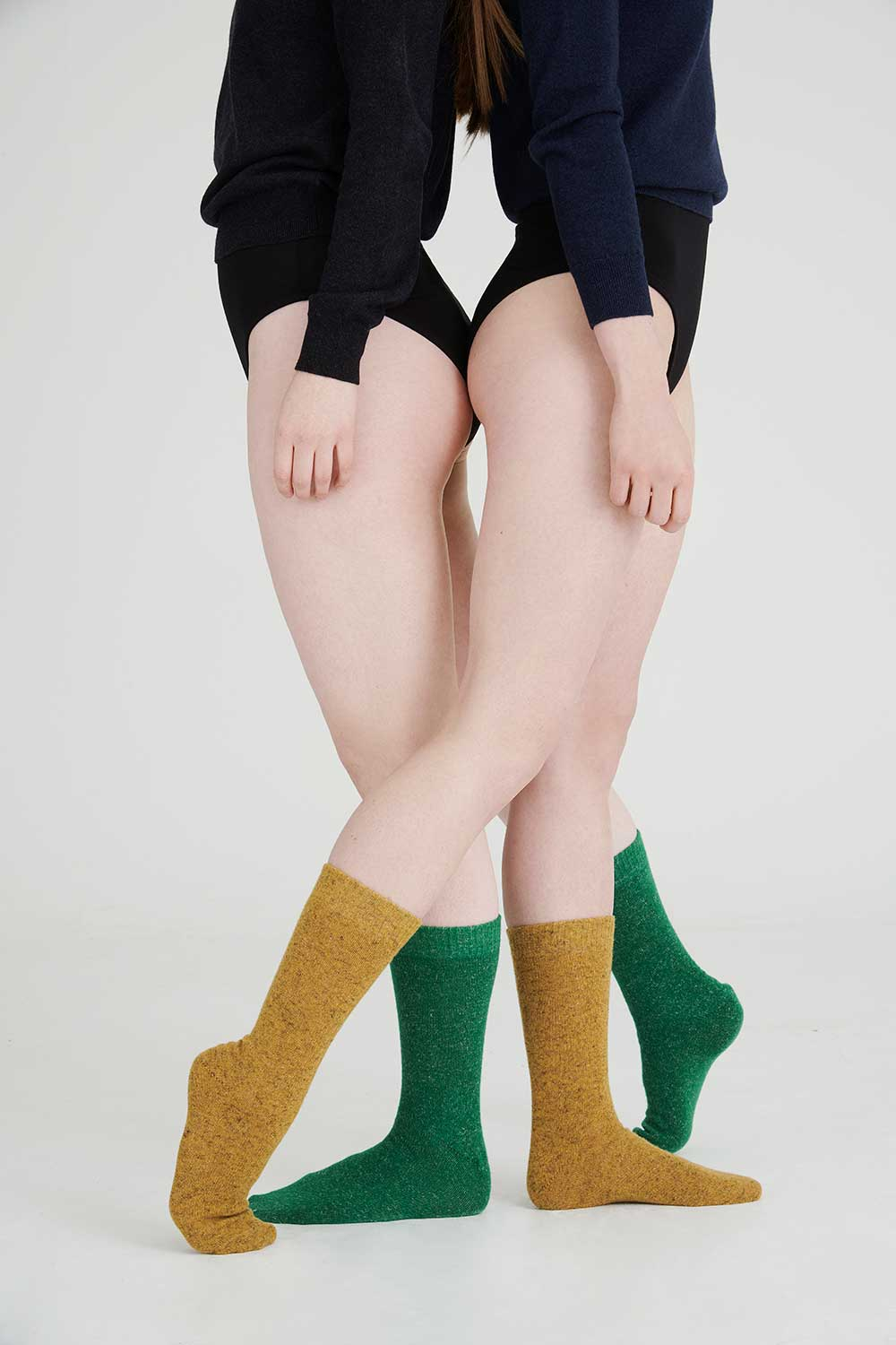 cosy colourful mustard yellow and bright green socks made in Britain
