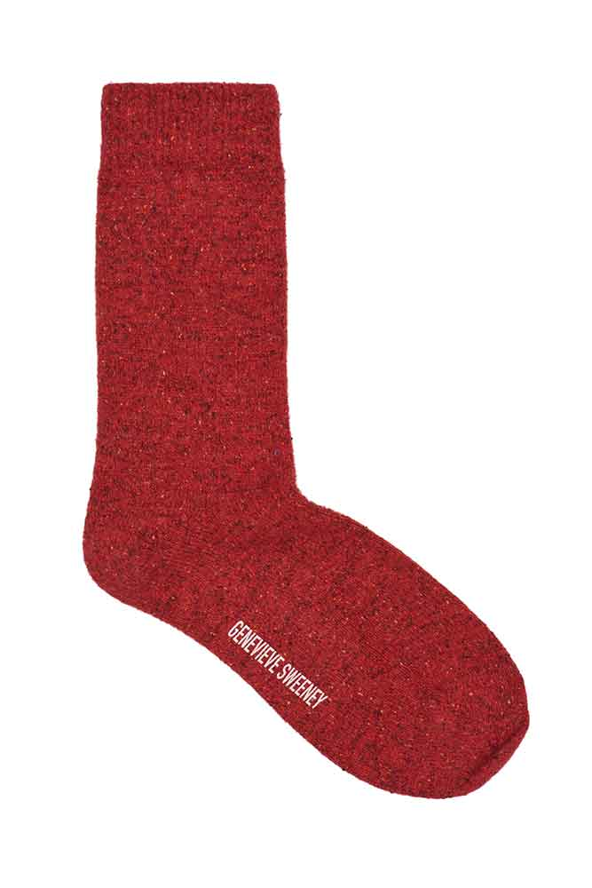 womens bright red wool socks with silk tweeds
